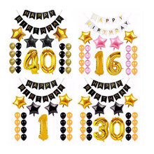 AVEBIEN 30 1st Rose Gold Letters Happy Birthday Foil Balloon Set Baby Shower Decoration Letter Balloons Decor 22pcs/set