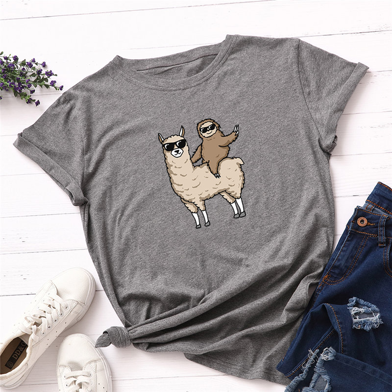 Fashion Cotton Female T-shirts Short Sleeve Plus Size Women T Shirt Alpaca Sloth Printing Tops Harajuku Kpop Tee Tshirt Femme