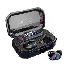Waterproof Earphones G02 TWS 5.0 Bluetooth Stereo Earphone Wireless 3300mAh LED Smart Power Bank Phone Holder