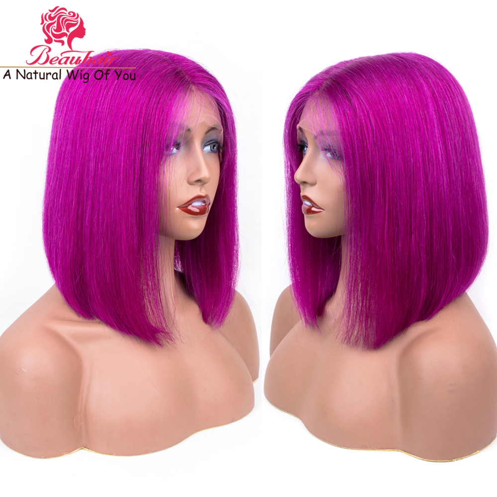 Human Hair Lace Wig Rose Purple Bob Wig Brazilian Human Hair Straight Wig For Black Women Remy Natural Hair Line With Baby Hair