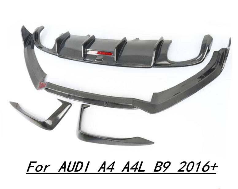 Car Carbon Fiber Front +Rear Bumper Lip Spoiler Auto Car Diffuser Fits For AUDI A4 A4L B9 2016 2017 2018 2019|Bumpers| |  - title=