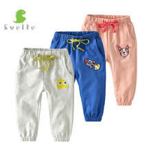 SVELTE Kids Boys Casual Blue Cotton Pants Girls Pink Harem Trousers with Embroidery Cartoon Pattern for 2 8Y Cute Children