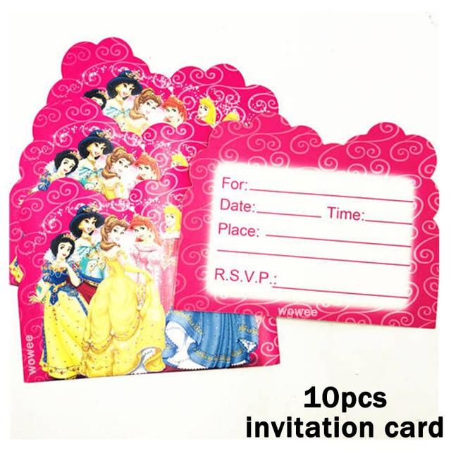 Us 0 5 33 Off 10pcs Ariel Snow White Belle Cinderella Jasmine Aurora Princess Birthday Party Supplies Invitation Card Baby Shower Decoration In