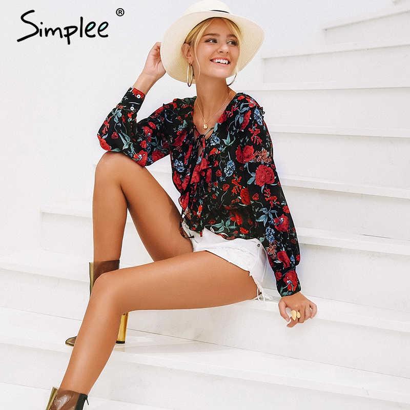 Simplee V boyun çiçek baskı kadın gömlek Lace up ruffles kısa tatlı bluz 2019 bahar uzun kollu elbise casual blusas kadın