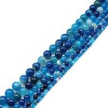Natural azul zircão listra pavão ágata redonda solta grânulos 6 8 10 12 14 mm escolher tamanho para fazer jóias