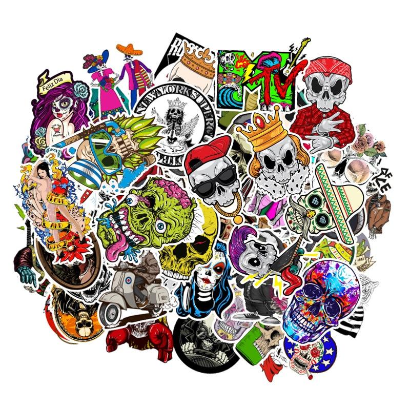 100PCS Horror Funny Skull Graffiti Fashion Style Stickers Skateboard Suitcase Guitar Luggage Laptop Sticker Kid Classic Toy F5