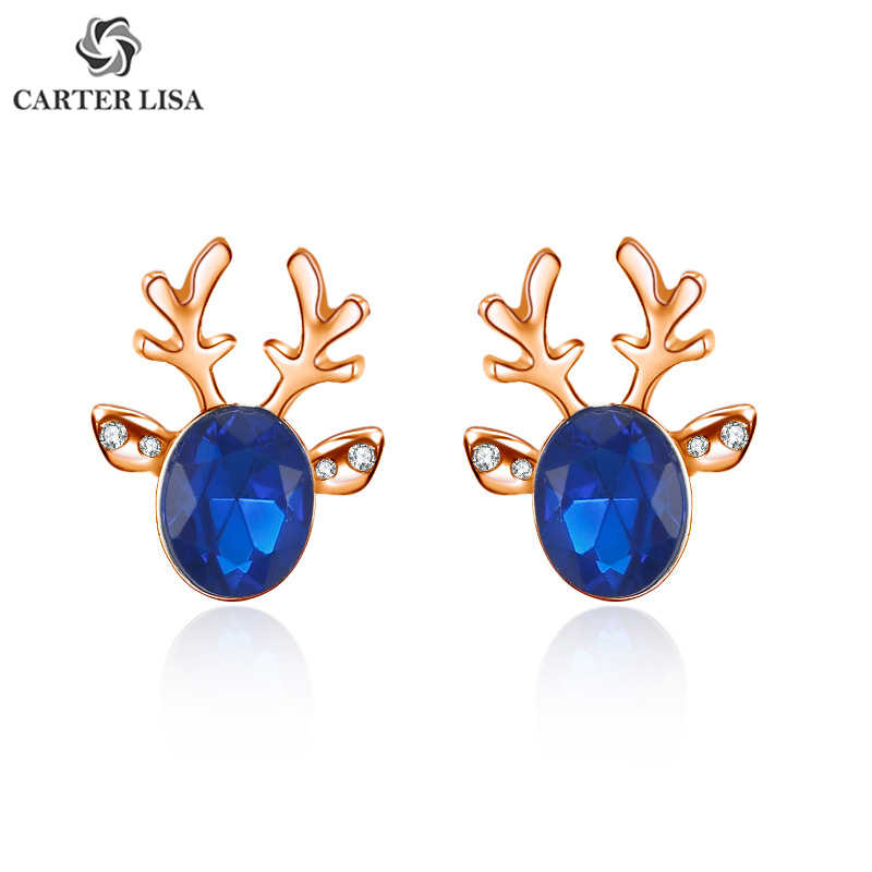 CARTER LISA Unique Design Animal Antlers Crystal Stud Earrings For Women New Fashion Christmas Day Silver Gold Small Ear Stud
