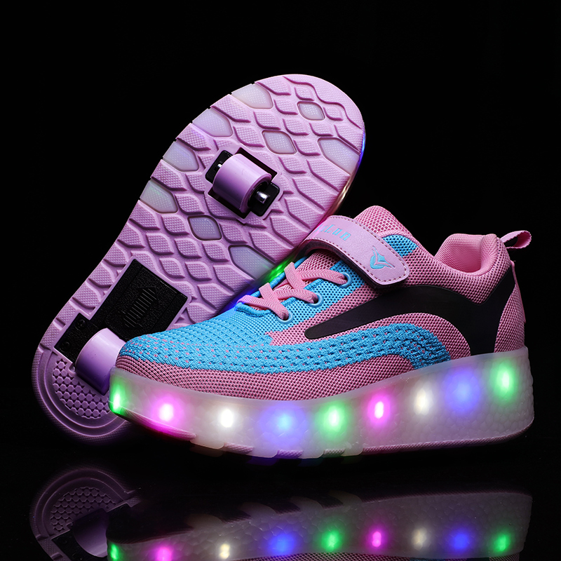LEMAI Heel Shoes Men And Women Adult Children Charging LED Light Shoes Two-wheeled Automatic Wheel Pulley Shoes