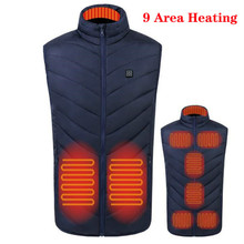 New Hot 9 Places Heated Vest for Men Women Usb Heated Jacket Heating Vest Thermal Clothing Hunting Vest Winter Heating Jackets