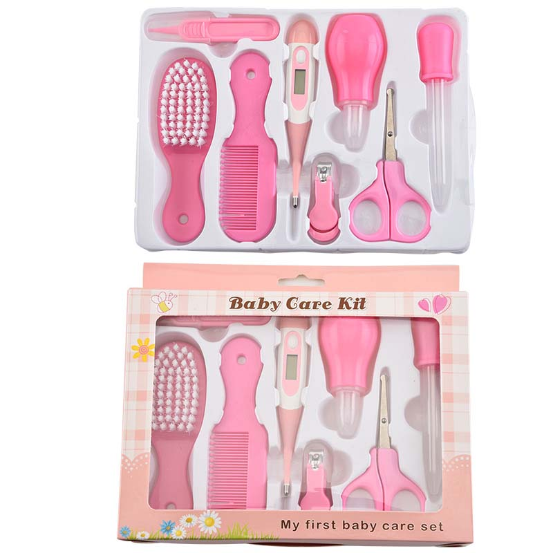 8Pcs Set Baby Healthcare Tools Portable Newborn Grooming Kit Nail Clipper Scissors Hair Brush Comb Safety