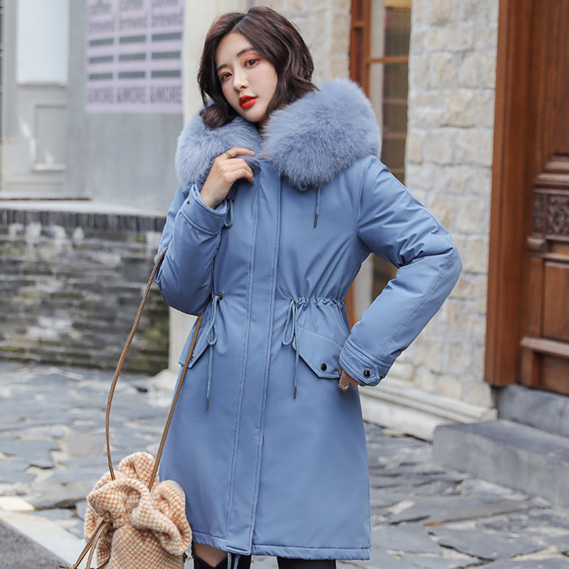 Image 2 - women long fur collar thick down coats slim hooded with pockets  zipper 2020 winter warm down jackets solid casual outwearDown Coats