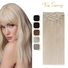 VeSunny Clip in Hair Extensions Human Hair Double Weft Machine Made Remy Hair 7pcs Clip on Extensions Dark Brown Blonde 100gr