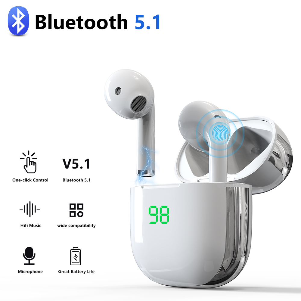 New TWS Bluetooth 5 1 Earphones Wireless Headphones 9D Stereo Earbuds Headsets With Microphone For iphone Samsung Xiaomi Huawei