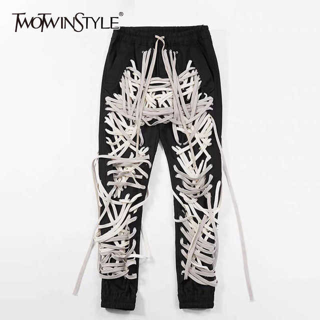 TWOTWINSTYLE Hit Color Patchwork Bandage Women's Trouser High Waist Casual Slim Pants For Female Summer 2021 Streetwear Fashion 1