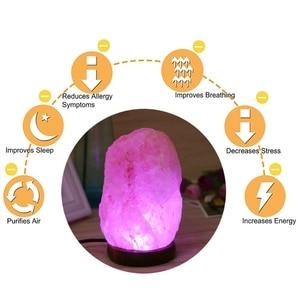 Image 5 - 2020 High Efficiency Hand Carved USB Wooden Base Himalayan Rock Salt Lamp Air Purifier Night Light J16 19 Dropship