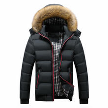 Winter Jacket Men Coat Casual Hooded Padded Parka Mens Artificial Fur
