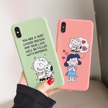 Cute cartoon love Charlie Brown Lucy puppy phone case for iphone Xs MAX XR X 6 6s 7 8 plus sugar color soft TPU back cover