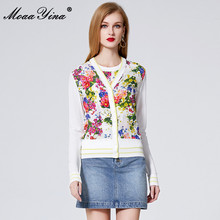 MoaaYina Spring Autumn V neck Long sleeve Knitting Tops Womens Elegant Floral Print Silk Sweater Thin Coat