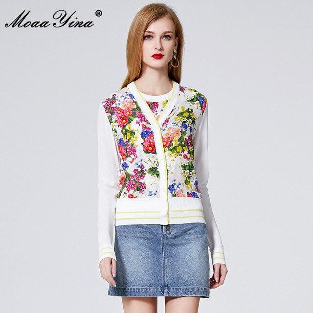 MoaaYina Spring Autumn V neck Long sleeve Knitting Tops Womens Elegant Floral Print Silk Sweater Thin Coat
