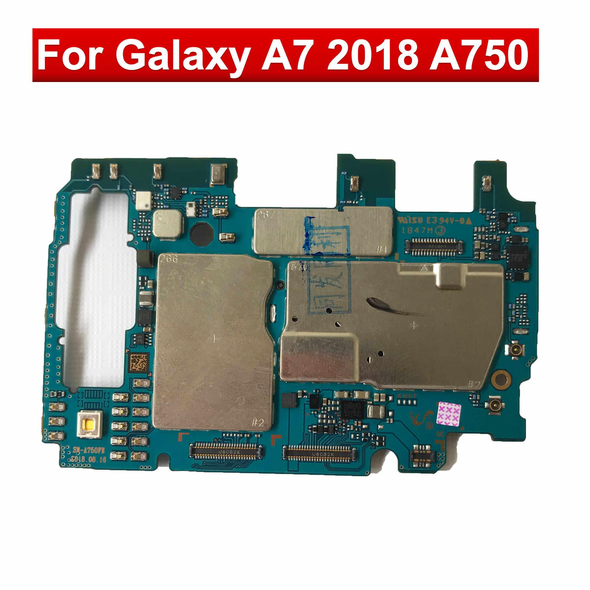 Placa-mãe original para samsung galaxy a7 2018 a750f 2 sim a750f/ds a750fn/ds a750gn/ds 64gb desbloqueado placas de lógica mainboard