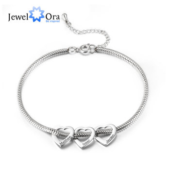 Personalized Stainless Steel Heart Beads Charm Anklet Bracelets for Women Custom Engraved Family Name Anklets Wedding Gifts vintage engraved floral anklet for women