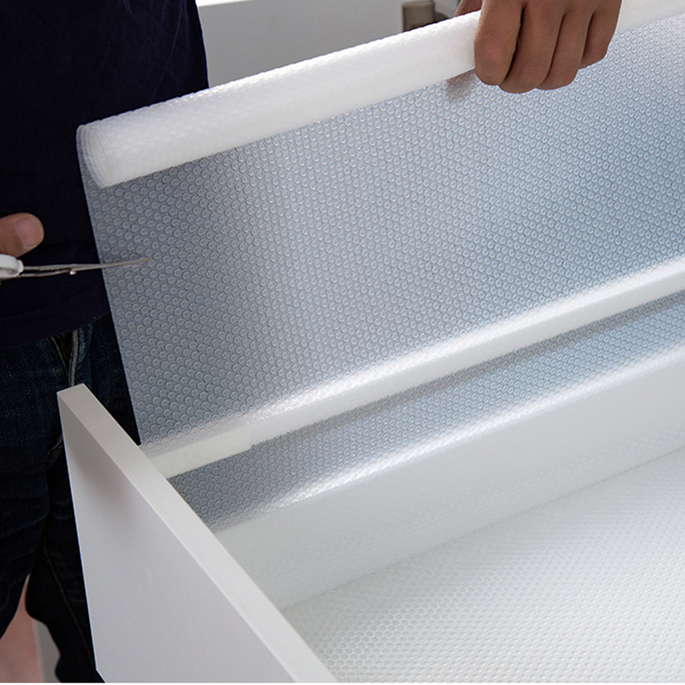 1 Roll Useful Waterproof Kitchen Table Mat Drawers Cabinet Shelf Liners Non Slip Cupboard Placemat Home Organization Accessories