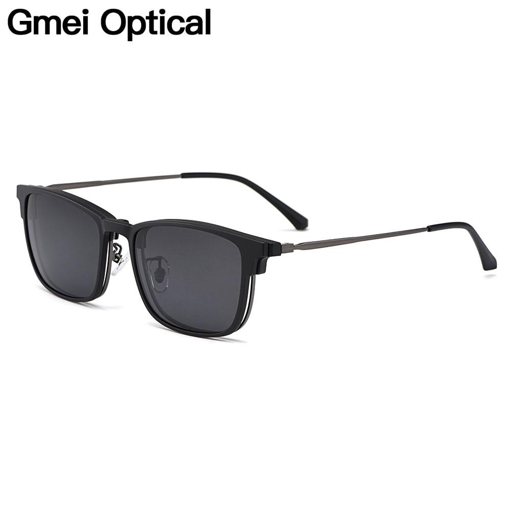 Gmei Optical Vintage Men Square Ultem Glasses Frame Ultralight Polarized Clip On Sunglasses Women Myopia Optical Frames HW954