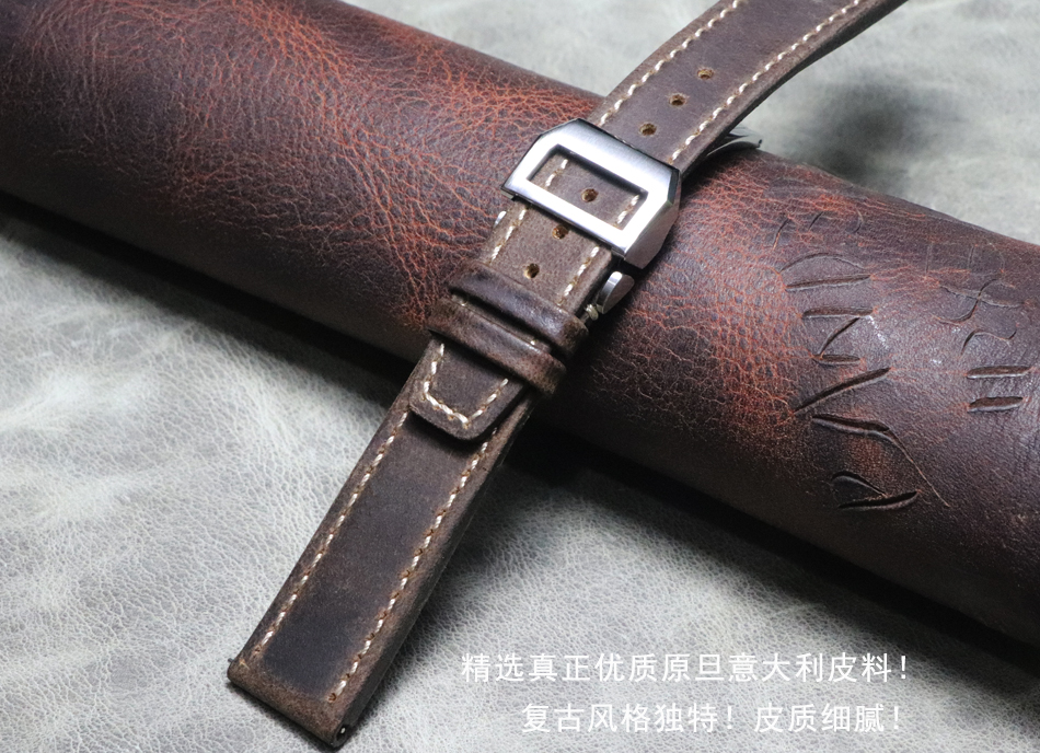 20mm 21mm 22mm Handmade Watchbands Genuine Leather Watch Accessories Watch Bracelet Watch Band Strap Vintage Folding Buckle