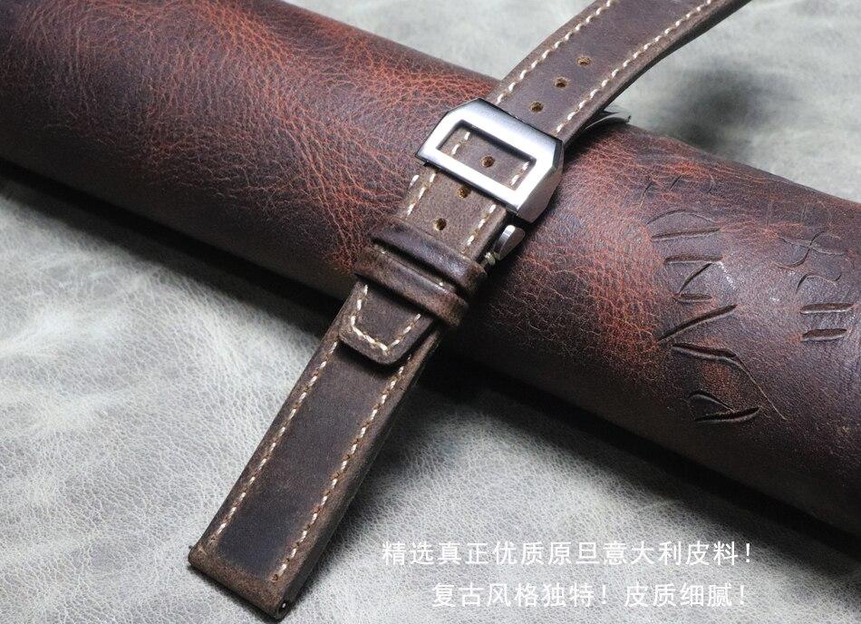 20mm 21mm 22mm Handmade Watchbands Genuine Leather Watch Accessories Watch Bracelet Watch Band Strap Vintage Folding Buckle