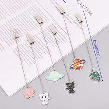 Cat Sakura Chain Marker Bookmark Page Clip School Office Supplies Stationery Student Gifts 8 pcs sakura golded bookmarks vintage flower leaf bookmark page holder chinese stationery office school supplies fc517