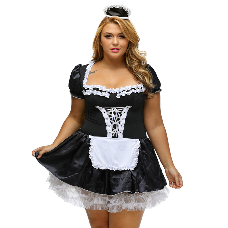 <font><b>Sexy</b></font> <font><b>Lingerie</b></font> Cosplay <font><b>Halloween</b></font> Satin French Maid Adult Uniform Fancy Dress Costume Babydoll Dress Uniform Maid <font><b>Lingerie</b></font> C80704 image