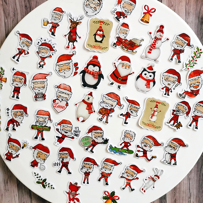 47PCS Christmas Santa Claus Stickers Crafts And Scrapbooking stickers book Student label Decorative sticker kids toys