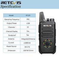 מכשיר הקשר 2pcs RETEVIS RT22S FRS מכסים נגד אבק 2W שני הדרך רדיו נייד תחנת אולטרה-דק VOX USB מכשיר הקשר לחייב הצגת חשמל (5)