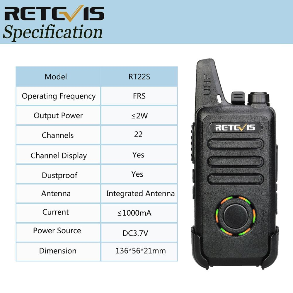 RETEVIS RT22S Walkie Talkie 2pcs Retevis RT22S 2W Portable Two-way Radio Station VOX USB Charging Hidden Display Hiking Travel