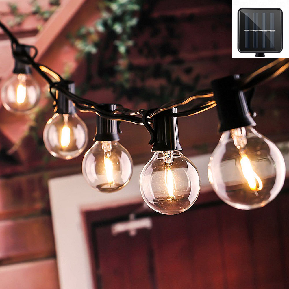 10/12/25LED Clear LED Bulbs Solar String Light Outdoor Vintage Backyard Patio Holiday Home Light Waterproof Hanging Light Decor|Solar Lamps| |  - title=