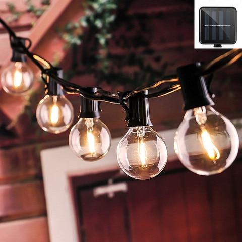 10 12 25led claro lampadas led solar luz da corda ao ar livre do patio