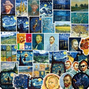 10/50PCS Van Gogh Oil Painting Stickers Waterproof Sunflower Art Sticker Laptop Skateboard Refrigerator Computer Graffit - discount item  20% OFF Stationery Sticker