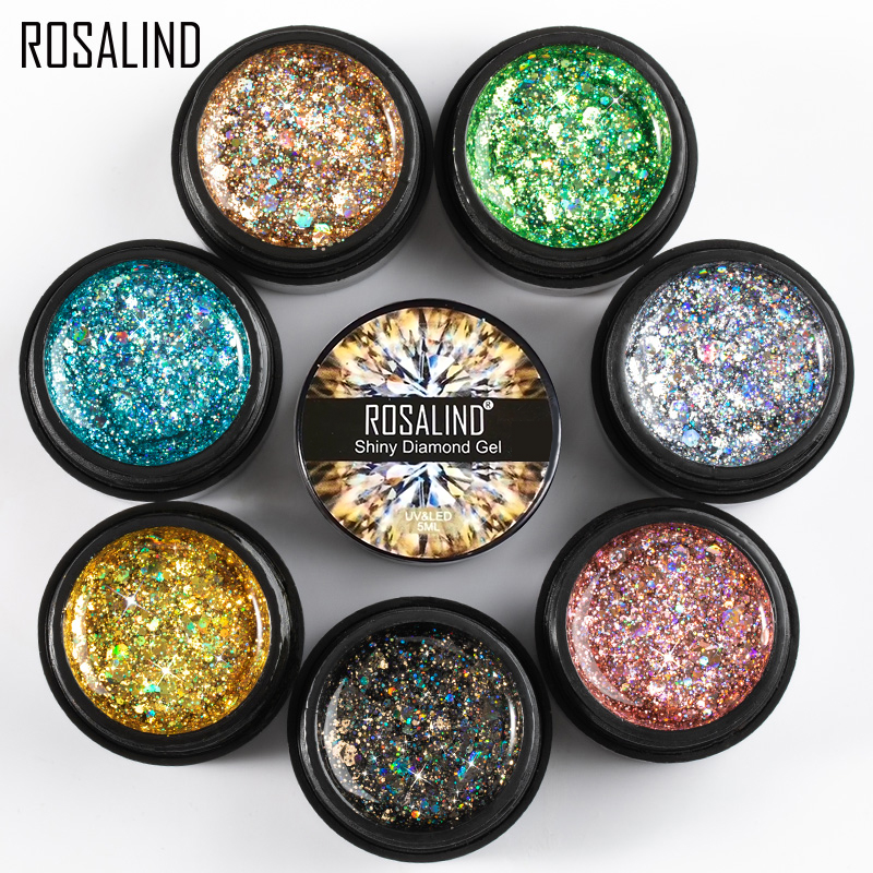 ROSALIND 5ml Shiny Diamond Glitter Gel Nail Polish Hybrid Varnishes For Manicure Nail Art Design Gel Polish Top and Base Set(China)