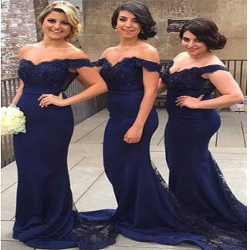 Blue Appliqued Lace Beading Off-shoulder Mermaid   Bridesmaid     Dresses   Simple Sleeveless V-neck Floor Length Wedding Party Gown