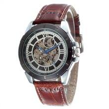 GOER Fashion Brand Men Watch Leather Band Automatic Mechanical Skeleton Watches Men Luxury Wrist Watch Relogio Masculino WINNER стоимость