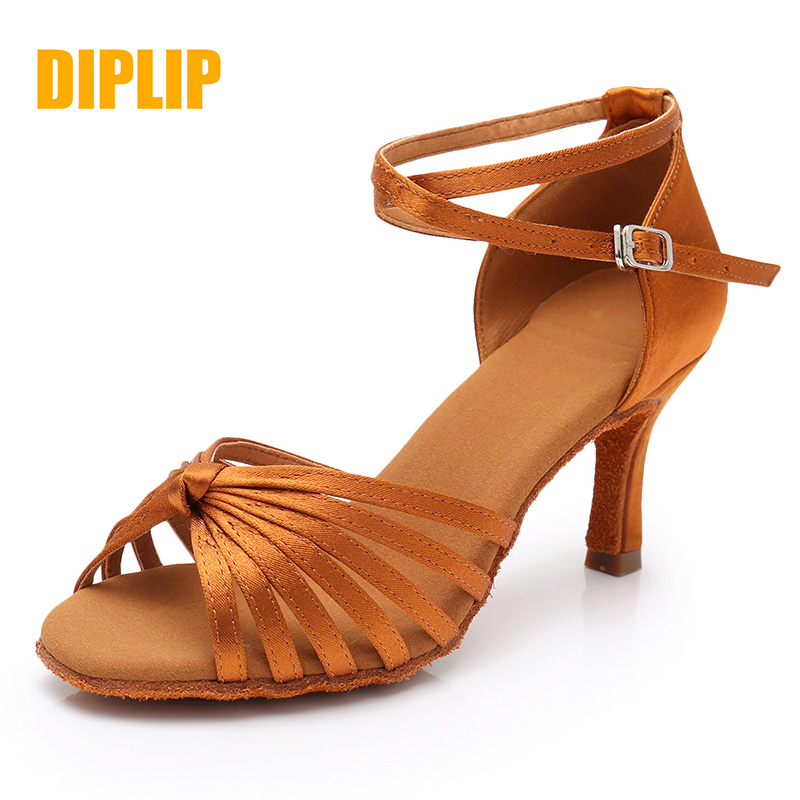 DIPLIP New Latin Dance Shoes For Women Girls Tango Salsa Ballroom Dance High Heels soft Dancing Shoes 5/7cm Ballroom Dance shoes image