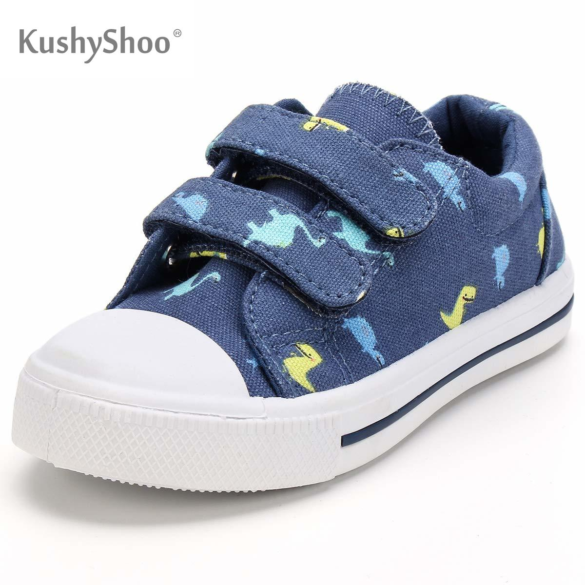 Unisex Kids Hook and Loop Canvas Sneakers White Lines Casual School Shoes