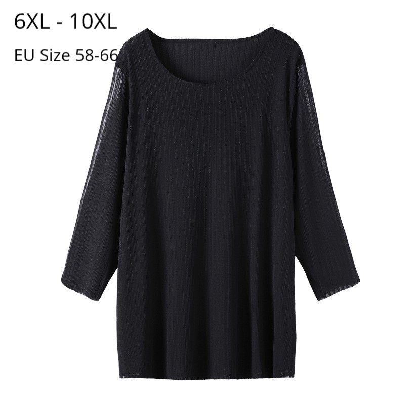 Plus Size 10XL 8XL <font><b>6XL</b></font> <font><b>Women</b></font> 3/4 Sleeves Spring Tshirts Femme O Neck Black Tops 2020 New Style T Shirt For Mujer image