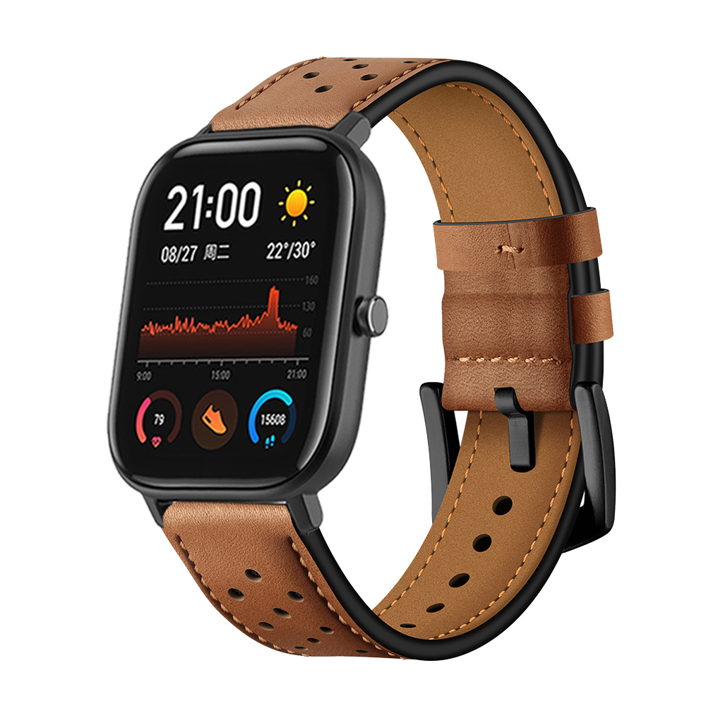 Leather Pulseira Watchband For Huami Amazfit GTS Strap Band For Amazfit Bip / GTR 47mm 42mm / Amazfit Pace Stratos 2 3 Correa
