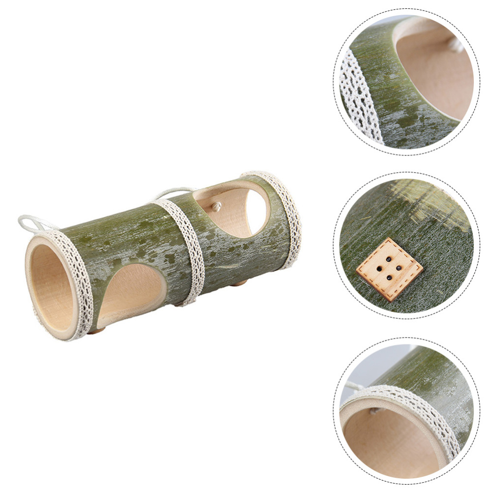 1pc Exquisite Wooden Hamster Tunnel Hamster Bamboo Tube (Random Color)