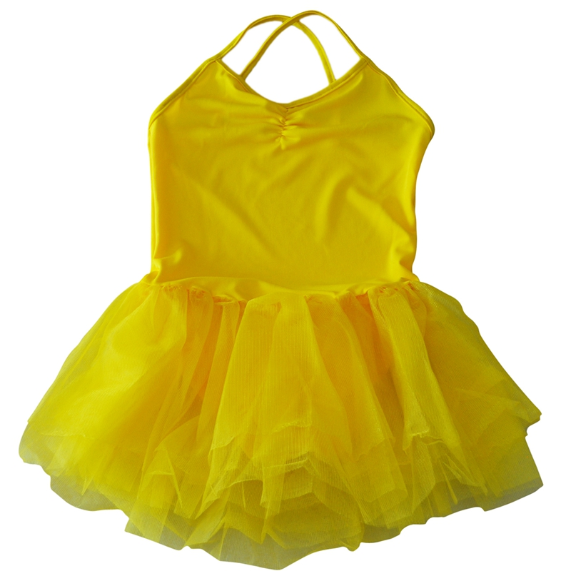Girl Ballet Dance Dress Gymnastic Leotard Straps Tutu 5-6 Yrs - Yellow
