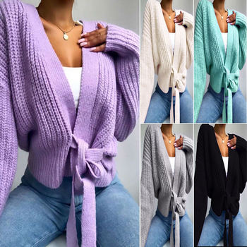 Autumn Casual Loose Cardigan Long Sleeve V-Neck Waist Lace-up Bow Sweater Solid Color Knitted Coat for Women Daily Wear image