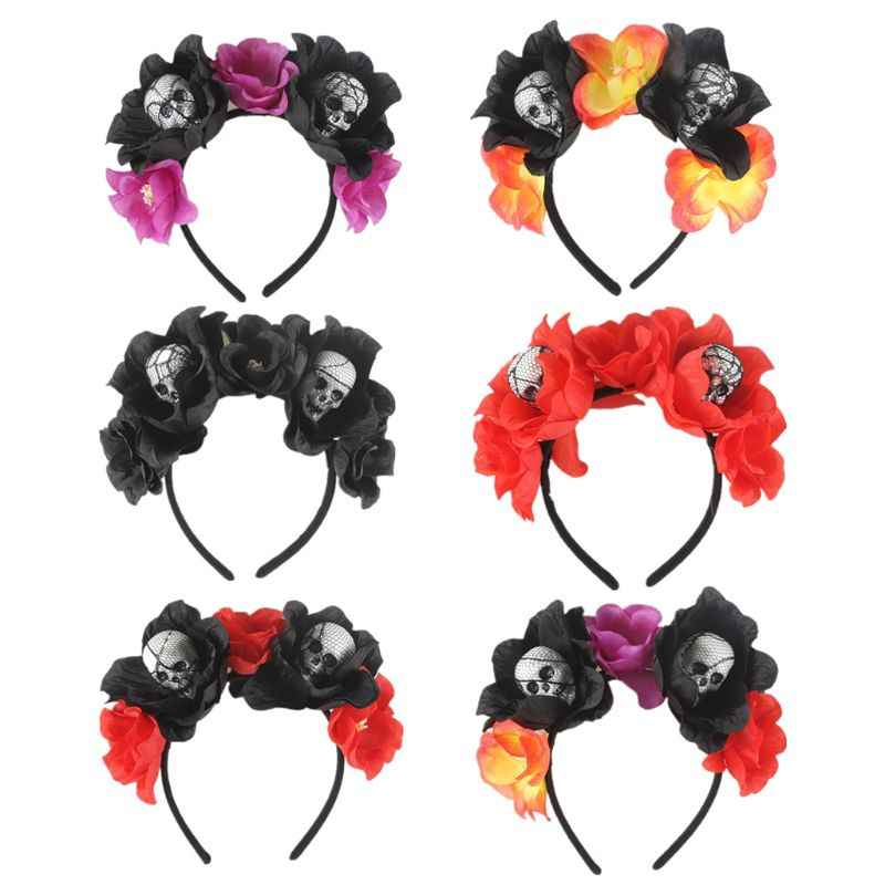 Halloween Day of The Dead Simulation Flower Crown Headband Womens Horror Foam Skull Hair Hoop Cosplay Party Favors Headpiece