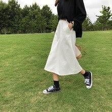 Basic Cotton Midi Skirt High Waist Women Denim Skirts White s,m,l