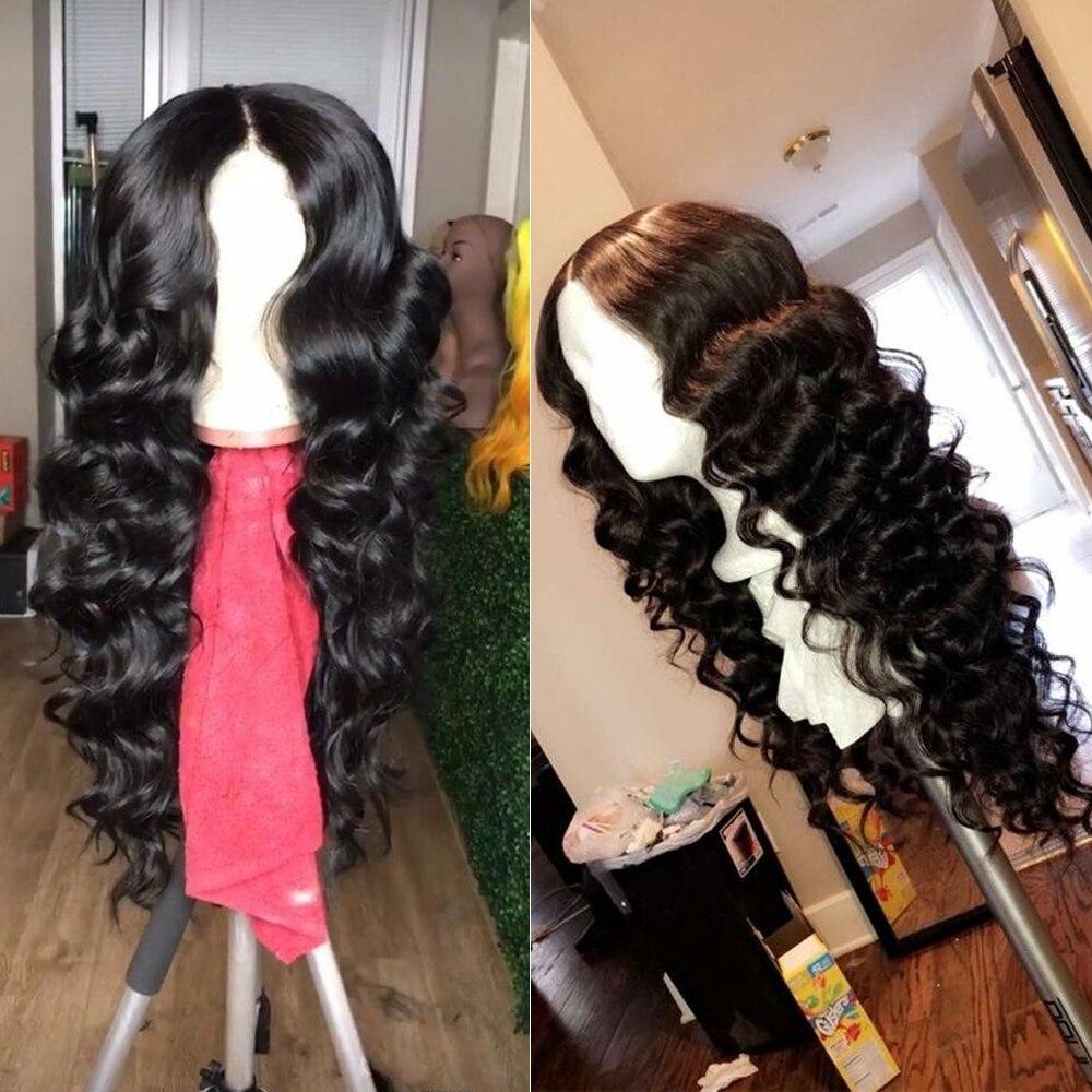 QT 4*4 Кружева Закрытие человеческих волос парики бразильские свободные глубокая волна для черных женщин предварительно сорванные Кружева Закрытие человеческих волос парик - 4